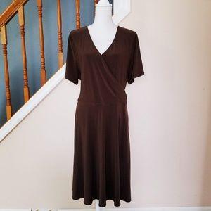 Lauren Ralph Lauren Brown Wrap-Over Dress